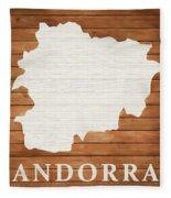 Andorra Rustic Map On Wood Fleece Blanket