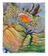 Anemone Coral And Fish Fleece Blanket