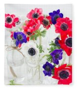 Anemone Flowers  Fleece Blanket