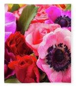 Anemones And Roses Fleece Blanket