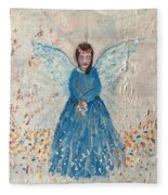 Angel In Blue Fleece Blanket