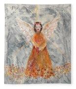 Angel In Orange Fleece Blanket