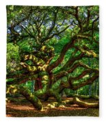 Angel Oak Morning Shadows Charleston South Carolina Fleece Blanket