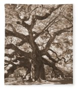 Angel Oak Sepia Fleece Blanket