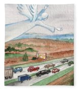 Angel Of Safety Fleece Blanket