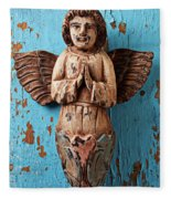 Angel On Blue Wooden Wall Fleece Blanket
