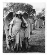 Angel On The Ground At Calvary Cemetery In Nyc New York Fleece Blanket