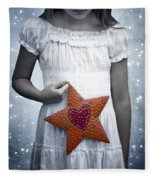 Angel With A Star Fleece Blanket