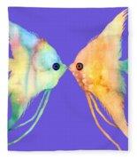 Angelfish Kissing Fleece Blanket by Hailey E Herrera