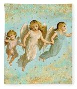 Angels Three Children Vintage Fleece Blanket