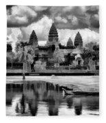 Angkor Wat Black Oil Paint  Fleece Blanket