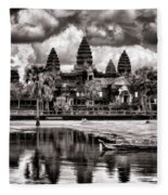Angkor Wat Sepia Paint  Fleece Blanket