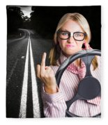 Angry Business Woman Expressing Road Rage Fleece Blanket