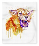 Angry Lioness Fleece Blanket