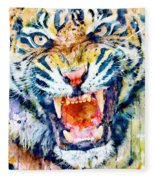 Angry Tiger Watercolor Close-up Fleece Blanket