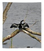 Anhinga And Alligator Fleece Blanket