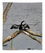 Anhinga And Alligator Fleece Blanket
