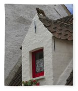 Animal Statue On The Dormer Roof Of A House In Bruges Belgium Fleece Blanket