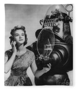 Anne Francis Movie Photo Forbidden Planet With Robby The Robot Fleece Blanket