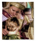 Anne Of Cleves With Prince Edward Fleece Blanket