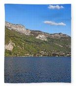 Annecy Lake Panorama Fleece Blanket