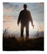 Anonymous Man In Silhouette Holding A Gun Fleece Blanket
