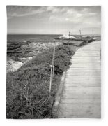 Another Asilomar Beach Boardwalk Black And White Fleece Blanket