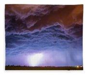 Another Impressive Nebraska Night Thunderstorm 007 Fleece Blanket