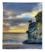 Anse Mamin Rock Formation At Sunset Saint Lucia Caribbean Sunset Fleece Blanket