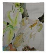 Antelope Skull Pinecones And Lily Fleece Blanket