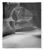 Antelope Slot Canyon Black And White Fleece Blanket