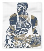 Anthony Davis New Orleans Pelicans Pixel Art 21 Fleece Blanket