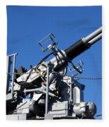Anti Aircraft Turret Defense Guns On A Navy Ship Fleece Blanket