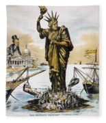 Anti-immigration Cartoon Fleece Blanket