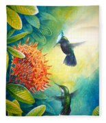 Antillean Crested Hummingbirds And Ixora Fleece Blanket
