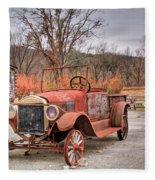Antique Car And Filling Station 1 Fleece Blanket