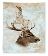 Antique Deer Fleece Blanket