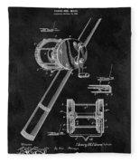 Antique Fishing Reel Patent Fleece Blanket