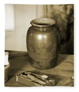 Antique Laundry And Clothes Pins In Sepia Photograph Fleece Blanket