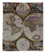 Antique Map Exotic Colorful Fleece Blanket