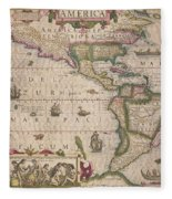 Antique Map Of America Fleece Blanket