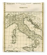 Antique Map Of Italy Fleece Blanket