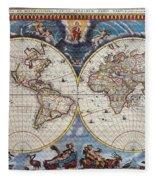 Antique Maps Of The World Joan Blaeu C 1662 Fleece Blanket