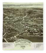 Antique Maps - Old Cartographic Maps - Antique Bird's Eye Map Of Sandwich, Massachusetts, 1884 Fleece Blanket