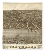 Antique Maps - Old Cartographic Maps - Antique Birds Eye View Map Of Cleveland, Ohio, 1877 Fleece Blanket