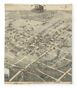 Antique Maps - Old Cartographic Maps - Antique Birds Eye View Map Of Denton, Texas, 1883 Fleece Blanket
