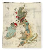 Antique Maps - Old Cartographic Maps - Antique Geological Map Of The British Islands Fleece Blanket