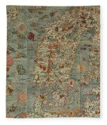 Antique Maps - Old Cartographic Maps - Antique Map Of Scandinavia In Latin, 1539 Fleece Blanket