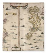 Antique Maps - Old Cartographic Maps - Antique Map Of Schetland And Orkney Islands - Scotland,1654 Fleece Blanket