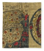 Antique Maps - Old Cartographic Maps - Antique Map Chinese Map Of The World, Ming Era Fleece Blanket